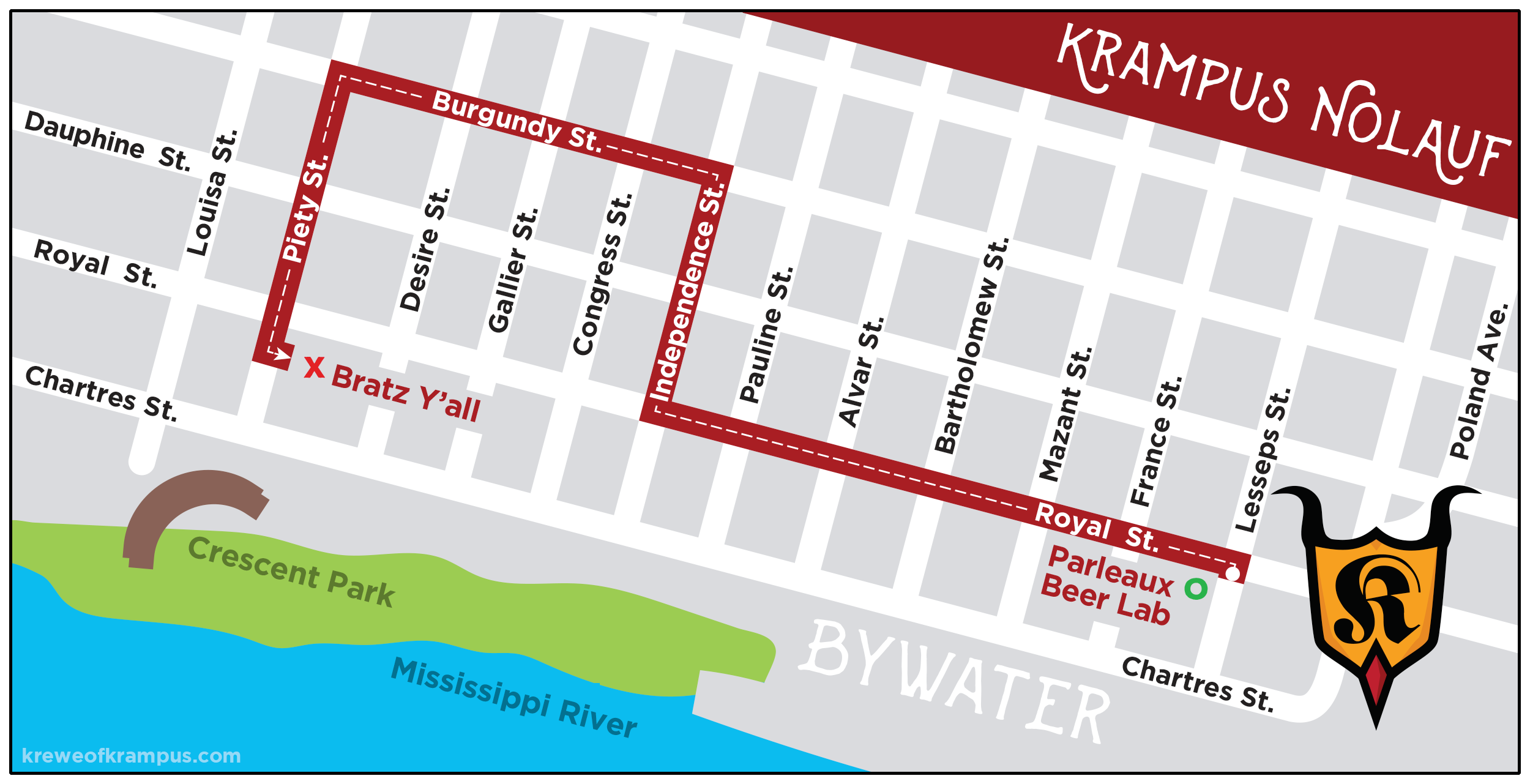 2018 Krampus NOLAuf Parade Route